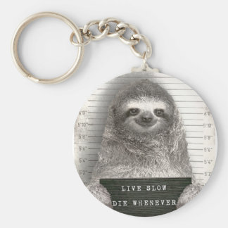 Sloth in a Mugshot Key Ring