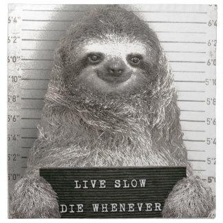 Sloth in a Mugshot Napkin