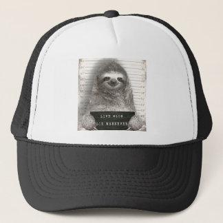 Sloth in a Mugshot Trucker Hat