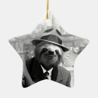 Sloth in New York Ceramic Star Decoration