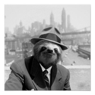 Sloth in New York Poster