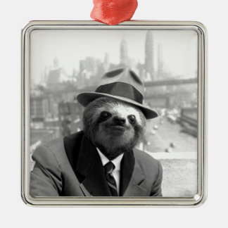 Sloth in New York Silver-Colored Square Decoration