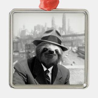 Sloth in New York Silver-Colored Square Decoration