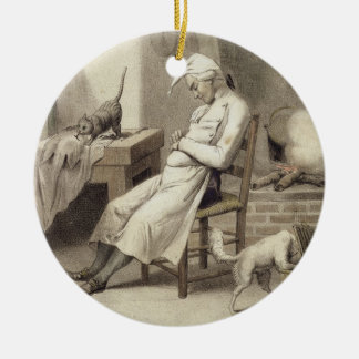 Sloth in the Kitchen, from a series of prints depi Round Ceramic Decoration