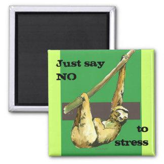 Sloth -Just Say NO Square Magnet