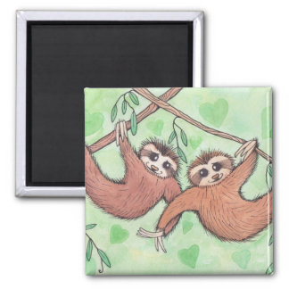 Sloth Love Valentine Square Magnet