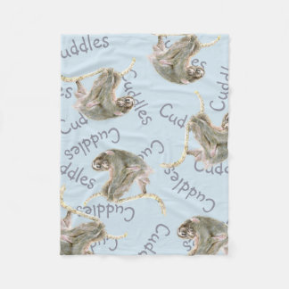 Sloth mom and Baby cuddles. Fleece Blanket