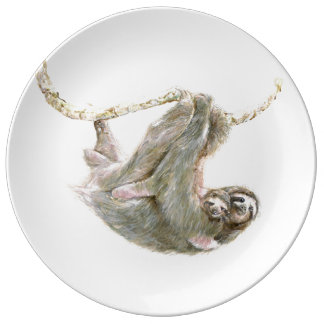 Sloth mom and Baby cuddles. Plate