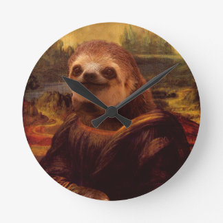 Sloth Mona Lisa Round Clock