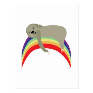 Sloth On Rainbow Postcard