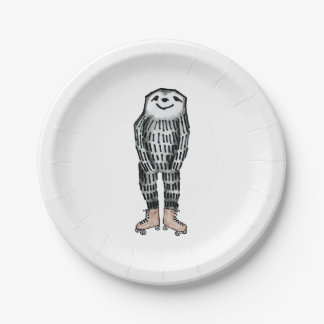 Sloth on Roller Skates 7 Inch Paper Plate