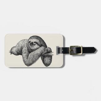 Sloth on tree luggage tag