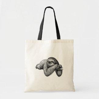 Sloth on tree tote bag