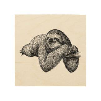 Sloth on tree wood wall art