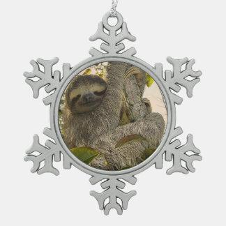sloth pewter snowflake decoration