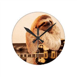 Sloth Rockstar Round Clock