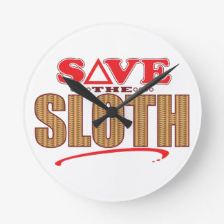Sloth Save Round Clock