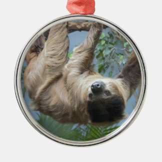 Sloth Silver-Colored Round Decoration