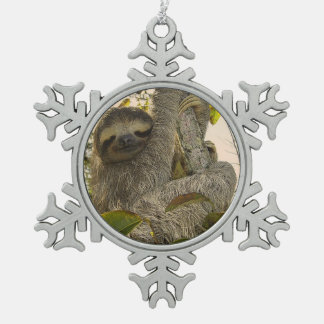 sloth snowflake pewter christmas ornament