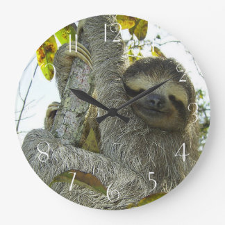 Sloth Up A Tree Large Clock