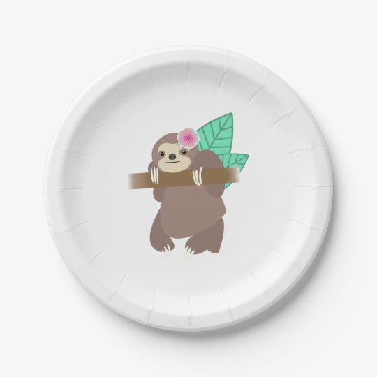 Sloth With Flower Digital Illustration 7 Inch Paper