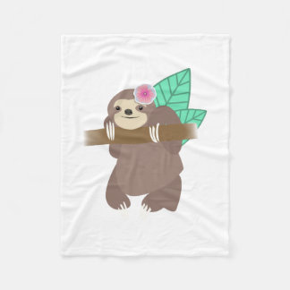 Sloth With Flower Digital Illustration Fleece Blanket