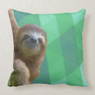 Sloth with Green Geometric Design Cushion