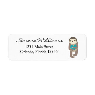Sloth with Teal Heart Return Address Label