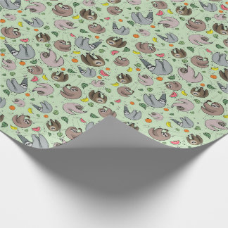 Sloths in Green Wrapping Paper