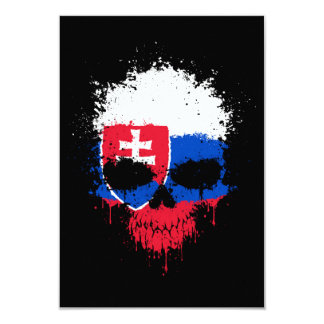Slovakia Dripping Splatter Skull Custom Invitations
