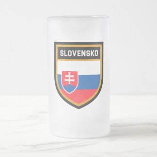 Slovakia Flag Frosted Glass Beer Mug