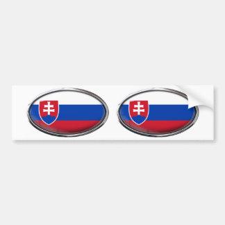 Slovakia Flag Glass Oval Bumper Sticker
