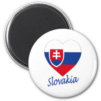 Slovakia Flag Heart 6 Cm Round Magnet