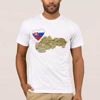 Slovakia Flag Heart and Map T-Shirt