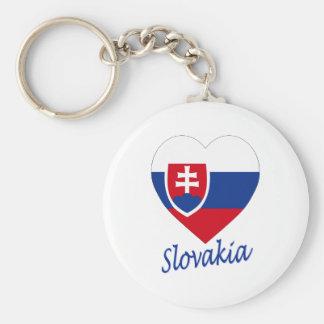Slovakia Flag Heart Basic Round Button Key Ring