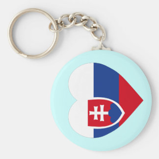 Slovakia Flag Heart Key Ring