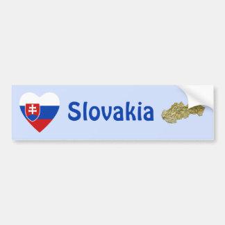 Slovakia Flag Heart + Map Bumper Sticker