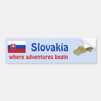 Slovakia Flag + Map Bumper Sticker