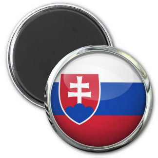 Slovakia Flag Round Glass Ball 6 Cm Round Magnet