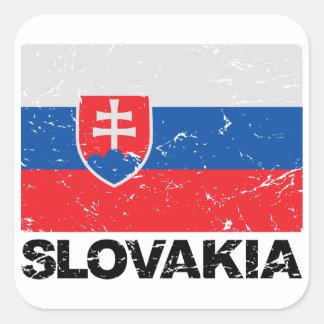Slovakia Flag Vintage Square Sticker