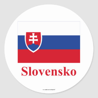 Slovakia Flag with Name in Slovak Classic Round Sticker