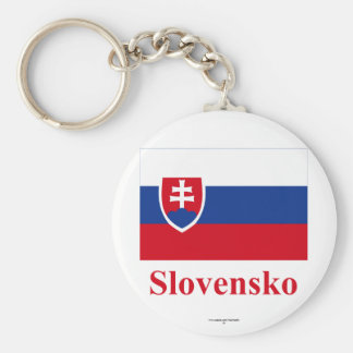 Slovakia Flag with Name in Slovak Key Ring