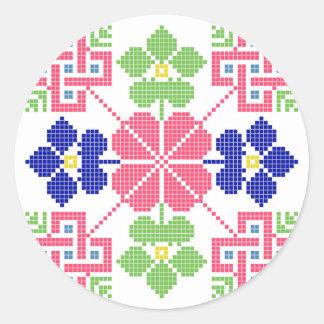slovakia folk motif symbol traditional ethnic geom classic round sticker