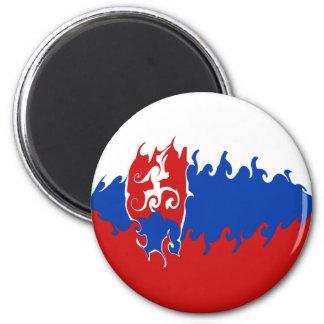 Slovakia Gnarly Flag 6 Cm Round Magnet
