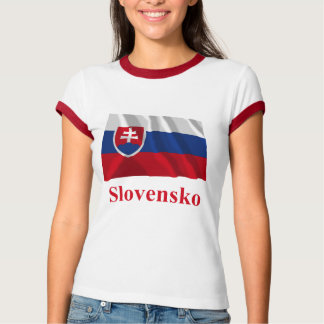 Slovakia Waving Flag with Name in Slovak T-Shirt