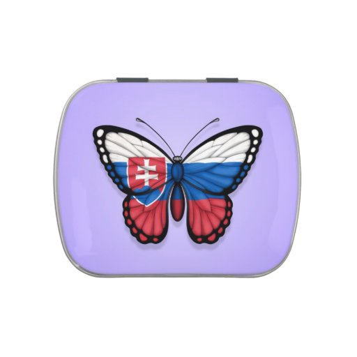 Slovakian Butterfly Flag on Purple Jelly Belly Candy Tins