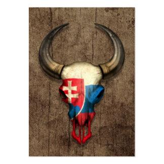 Slovakian Flag Bull Skull on Wood Effect Pack Of Chubby Business Cards