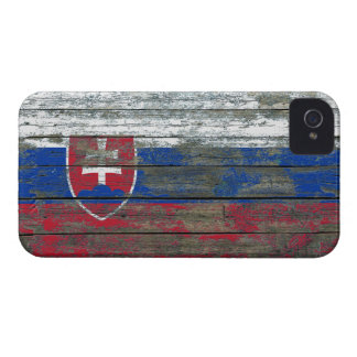 Slovakian Flag on Rough Wood Boards Effect Case-Mate iPhone 4 Cases