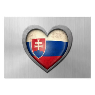 Slovakian Heart Flag Stainless Steel Effect Pack Of Chubby Business Cards