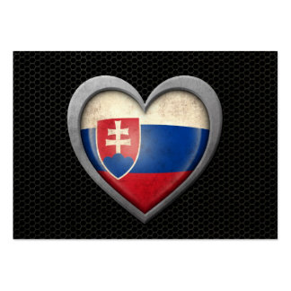 Slovakian Heart Flag Steel Mesh Effect Pack Of Chubby Business Cards